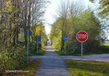 Die Bahnstrecke zwischen Zeitz und Camburg ist heute ein Radweg. Hier fehlen nur noch die Ampeln.