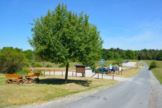 Großer Wanderparkplatz, 1,6 km vom Fuchsturm entfernt.