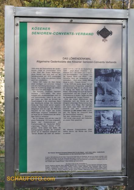 Bunte Geschichte Deutschland. Infotafel zum Löwendenkmal, aufgenommen im Herbst 2009.