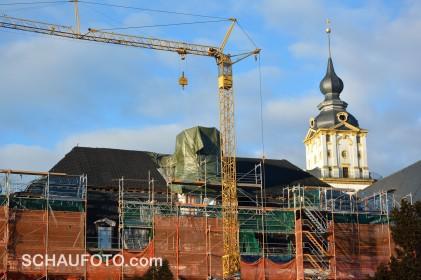 Die Rathaus-Baustelle heute früh.