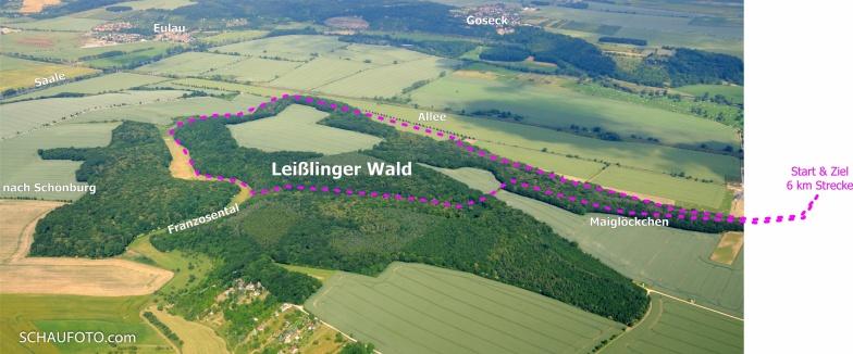 Die Streckenskizze auf einem Luftbild von 2010.