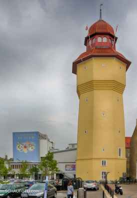 Der alte Wasserturm im Zentrum.