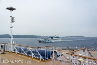 Am nächsten Morgen im Oslo-Fjord: Wir schauen auf eine AIDA.