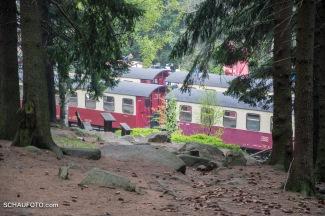 Durchblick zum nahen Bahnhof Schierke.